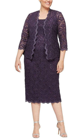 Alex Evenings - 412264 Square Neck Lace Tea Length Dress