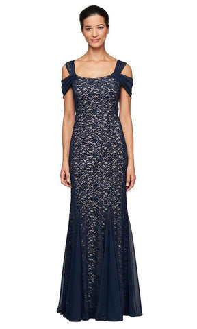 Alex Evenings - 81122243 Cold Shoulder Lace Evening Dress