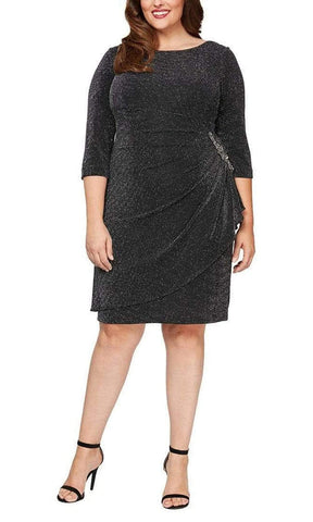 Alex Evenings - 8427510 Quarter Sleeve Glittered Midi Dress