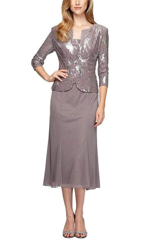 Alex Evenings - Sequin Embellished Dress with Quarter Sleeve Jacket 196267 - 1 pc Pewter Frost In Size 16 Available