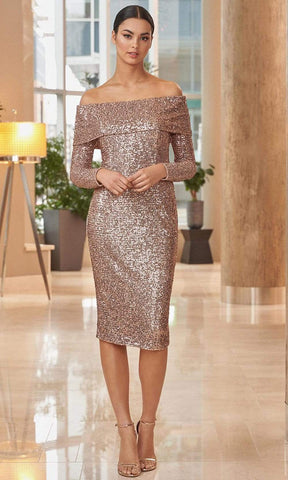 Alexander by Daymor - 1052 Shiny Fitted Long Sleeves Dress