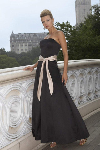 Alexia Designs - 665 Satin Strapless A-Line Gown Special Occasion Dress 0 / Black/White