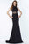 Alyce Paris - 1204 High Halter Neck Strappy Midriff Long Gown Evening Dresses 000 / Black