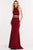 Alyce Paris - 1204 High Halter Neck Strappy Midriff Long Gown Evening Dresses 000 / Wine