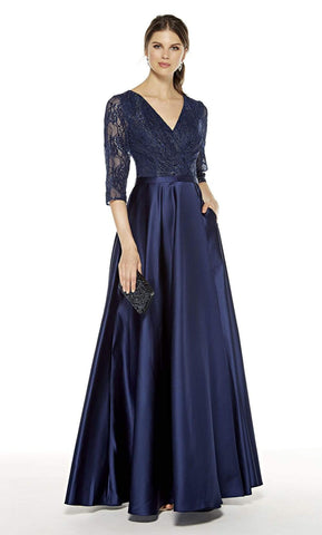 Alyce Paris - 27387 Lace V-Neck Satin A-Line Dress