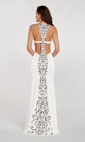 Alyce Paris - 60312 Beaded Cross Back Halter Stretch Crepe Trumpet Dress - 1 pcs Diamond White in Size 0 Available CCSALE 2 / Diamond White