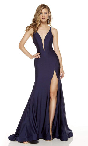 Alyce Paris - 60769 Plunging Neck Fitted Sheath Dress