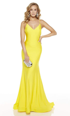 Alyce Paris - 60773 V Neck Spaghetti Strap Open Back Mermaid Gown Evening Dresses 0 / Bright Yellow
