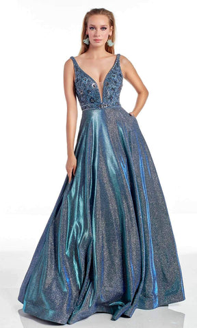 Alyce Paris - 60874 Embellished Deep V Neck Glitter Chrome A-line Gown