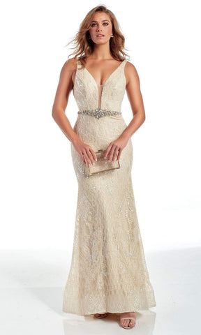 Alyce Paris - 60940 Illusion Plunging Neck Sequin Trumpet Gown