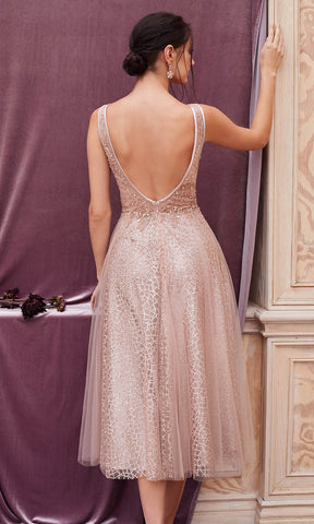 Andrea and Leo - A0680S Tea Length Beaded A-Line Dress Prom Dresses 2 / Rose Gold