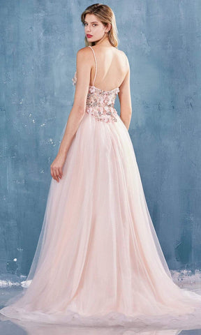 Andrea and Leo - A0721 Floral Plunging V Neck A-Line Dress Evening Dresses 2 / Blush