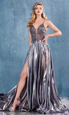 Andrea and Leo - A0742 Beaded Plunging V Neck Dress With Slits Evening Dresses 2 / Metallic Silver