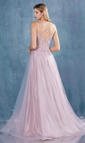 Andrea and Leo - A0762 Beaded Floral Lace Bodice Tulle A-Line Gown Special Occasion Dress