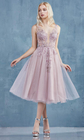 Andrea and Leo - A0861 Applique Plunging V Neck A-Line Dress Prom Dresses 2 / Blush