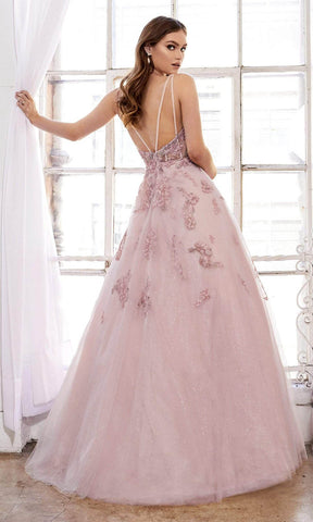 Andrea and Leo - A0892 Floral Embroidered V Neck Ballgown Special Occasion Dress 2 / Blush