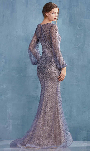 Andrea and Leo - A0997 Pearl Beaded Long Sleeve Trumpet Gown 2 / Moonlight Grey/Nude