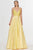 Angela & Alison - 91001 Sleeveless Low Scoop Back Beaded Satin Gown Special Occasion Dress 0 / Yellow