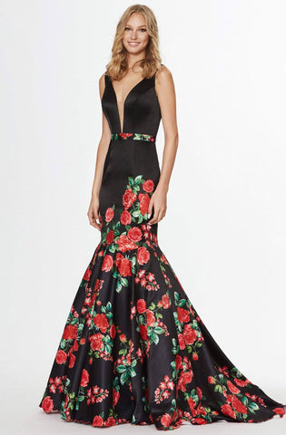 Angela & Alison - 91037 Floral Satin Deep V-neck Mermaid Dress