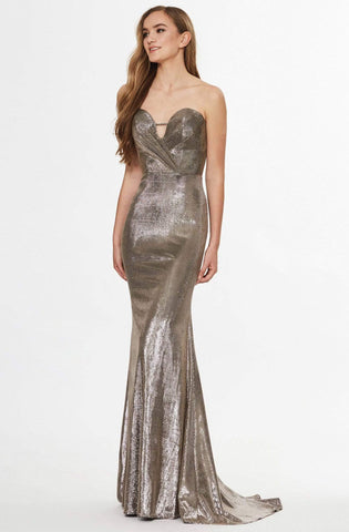 Angela & Alison - 91051 Fitted Strapless Sheath Evening Gown