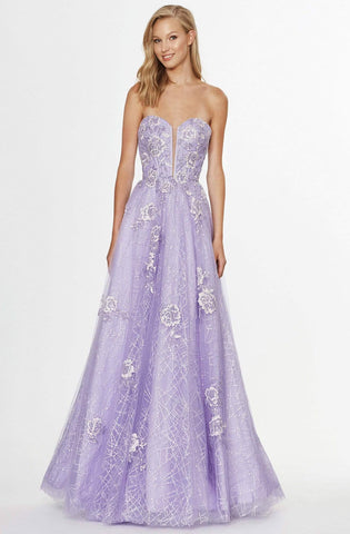 Angela & Alison - 91080 Embroidered Deep Sweetheart A-line Dress