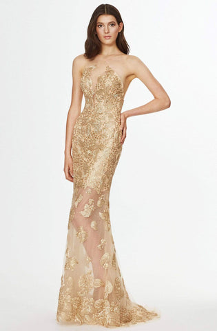 Angela & Alison - 91084 Metallic Lace Halter Trumpet Dress