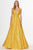 Angela & Alison - 91124 Two Tone Shimmering Stretch Lace A-line Dress Special Occasion Dress 0 / Saffron/Gold