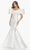 Ashley Lauren - 11057 Puff Ruffle Off Shoulder Mikado Mermaid Gown Evening Dresses 0 / Ivory