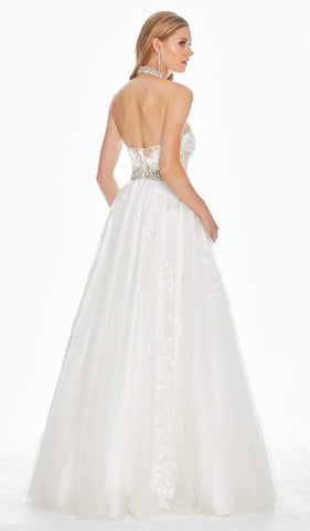 Ashley Lauren - 1402 Embroidered Halter Tulle Ballgown Special Occasion Dress 0 / White