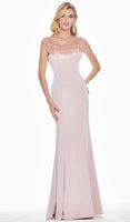 Crepe Natural Waistline Cap Sleeves Beaded Trim Floor Length Sheath Back Zipper Draped Jeweled Neck Sheath Dress with a Brush/Sweep Train