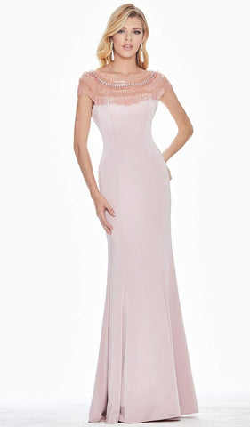 Ashley Lauren - 1517 Cap Sleeve Bead Fringed Crepe Sheath Gown
