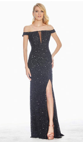 Ashley Lauren - 1562 Beaded Off-Shoulder Gown with Slit