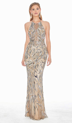 Ashley Lauren - 1563 Halter Sequined Sheath Evening Dress