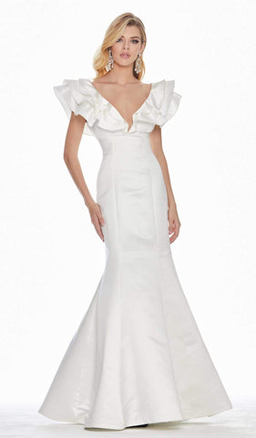 Ashley Lauren - 1566 Ruffled Cap Sleeve Plunging V-Neck Gown