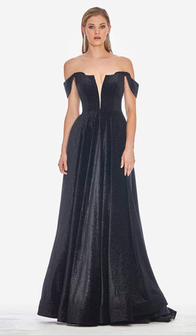 Ashley Lauren - 1567 Deep Off-Shoulder Glitter Velvet A-line Dress