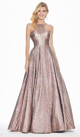 Ashley Lauren - 1573 Sleeveless Halter Brocade A-line Dress
