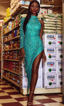 Sexy Floor Length High-Low-Hem Beaded Sequined Fitted Long Sleeves High-Neck Natural Waistline Sheath Sheath Dress