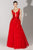 Beside Couture by Gemy - BC 1459 Applique Deep V-neck A-line Gown Special Occasion Dress 0 / Red