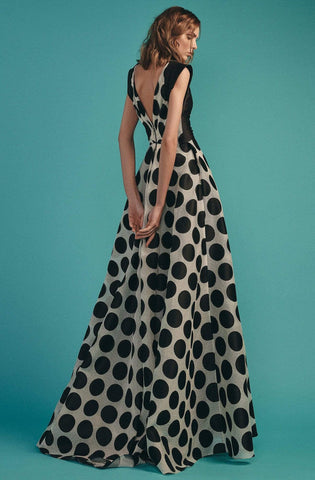 Beside Couture by Gemy - BC 1535 Polka Dot V-neck A-line Dress Prom Dresses 0 / Black