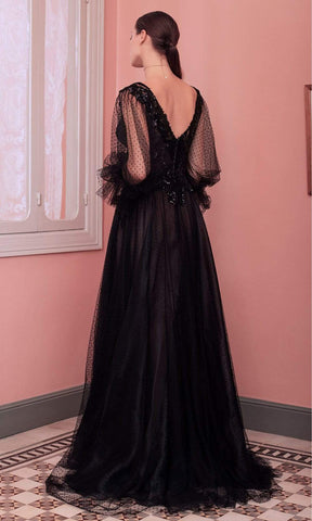 Beside Couture by Gemy - ED 1586LD Sequined V-Neck Dotted Tulle Dress Evening Dresses 2 / Black