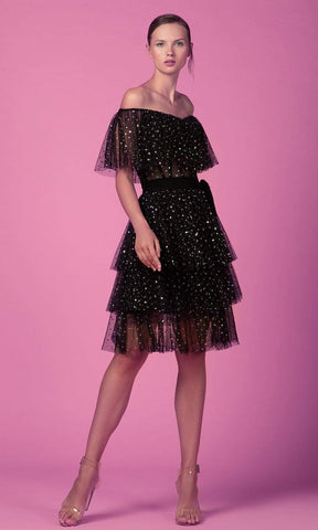Beside Couture by Gemy - ED 1600SD Sequin Tulle Tiered A-Line Dress Homecoming Dresses 2 / Black