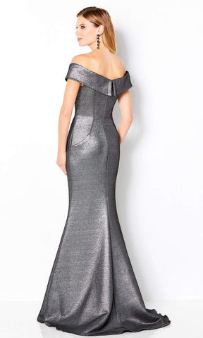 Cameron Blake by Mon Cheri - 220647 Metallic Off Shoulder Dress Evening Dresses 4 / Gunmetal