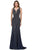 Cecilia Couture - 1410 Beaded Deep V-neck Trumpet Dress Evening Dresses 0 / Navy