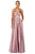Cecilia Couture - 2107 V-Neck Satin A-line Long Dress Evening Dresses 0 / Dusty Mauve
