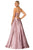 Cecilia Couture - 2107 V-Neck Satin A-line Long Dress Evening Dresses