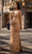 Chic and Holland - AN1469 Beaded Plunging V Neck Sheath Dress Special Occasion Dress 0 / Gold