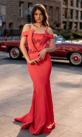 Chic and Holland - AN3155 Cold Shoulder Stretch Long Dress Prom Dresses 0 / Red