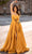 Chic and Holland - AN3198 Sweetheart Bow Slit A-line Dress Prom Dresses 0 / Mustard