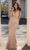 Chic and Holland - HF1516 Illusion Front Keyhole Embellished Long Gown Special Occasion Dress 0 / Blush