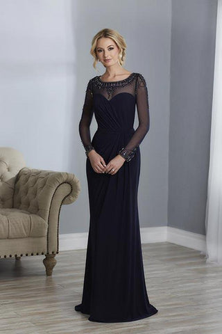 Christina Wu Elegance - Illusion Bateau Long Sleeves Evening Gown 17863 CCSALE 18 / Wine
